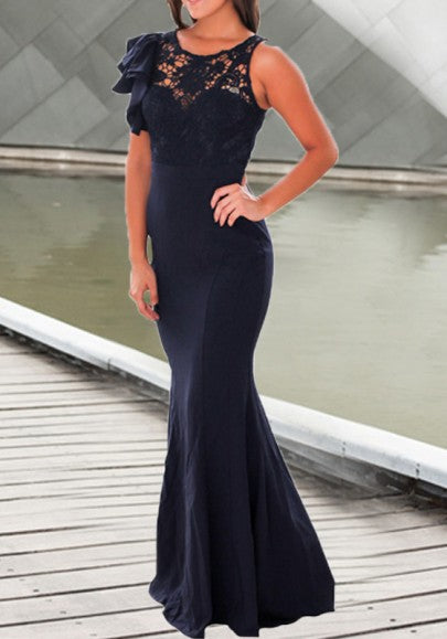Dark Blue Irregular Draped Lace Ruffle Mermaid Round Neck Sleeveless Maxi Dress
