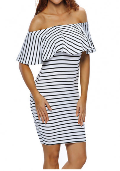 White-Black Striped Print Bandeau Ruffle Off Shoulder Short Sleeve Party Mini Dress