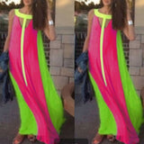 Rose Carmine Patchwork Cut Out Round Neck Fashion Maxi Dress