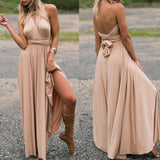 Plain Cross Backless Prom Evening Party Draped Belt V-neck Bridesmaid Beach Maxi Bridesmaid Dress
