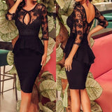 Black Plain Lace Cut Out Swallowtail Peplum Round Neck Midi Dress