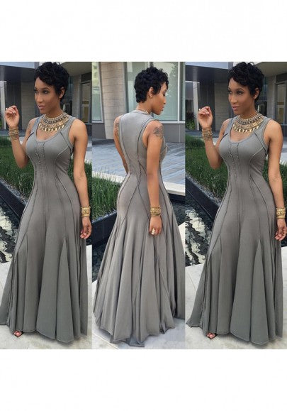 Grey Plain Pleated Round Neck Big Swing Plus Size Prom Maxi Dress