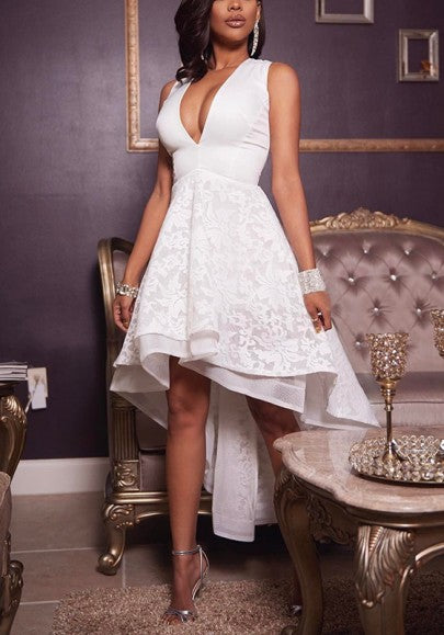 White Patchwork Embroidery Irregular Ruffle Zipper Plunging Neckline Midi Dress