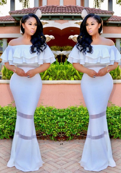 White Cascading Ruffle Boat Neck Off Shoulder Party Elegant Maxi Dress