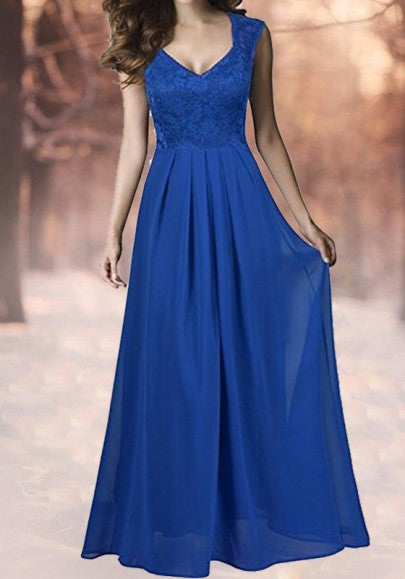 Blue Patchwork Draped Lace V-neck Elegant Prom Evening Party Maxi Dress