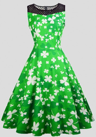 Green Shamrock Print Lace Pleated Tutu St. Patrick's Day Party Cute Midi Dress