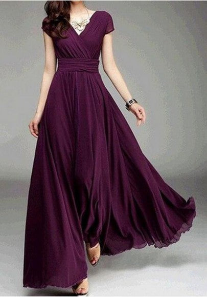 Burgundy Draped V-neck High Waisted Prom Evening Party Maxi Dress