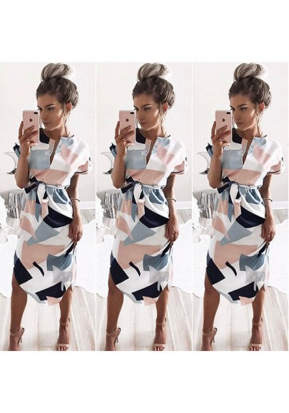 White Color Block Geometric Print Sashes V-neck Midi Dress