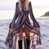 Multicolor Patchwork Irregular Long Sleeve Bohemian Polyester Maxi Dress