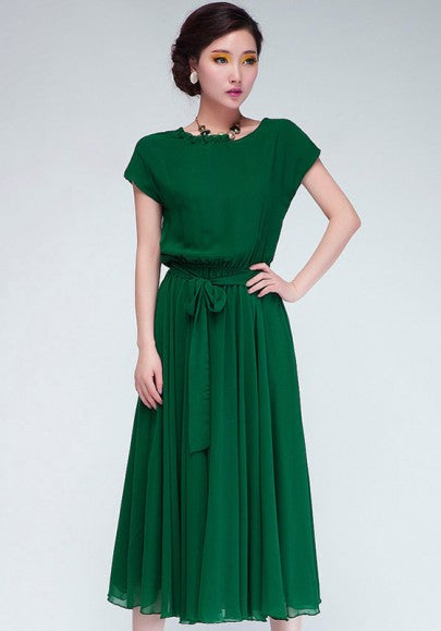 Green Plain Draped Sashes Belt Chiffon Maxi Dress