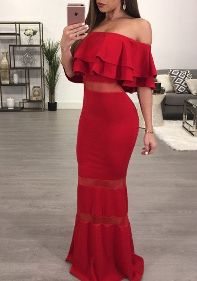Red Patchwork Grenadine Off-Shoulder Boat Neck Cascading Ruffle Maxi Dress