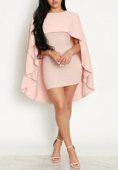 Pink Cloak High-low Round Neck Bodycon Party Midi Dress
