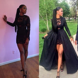 Black Patchwork Lace Round Neck Long Sleeve fashion Two Piece Prom Maxi Dress