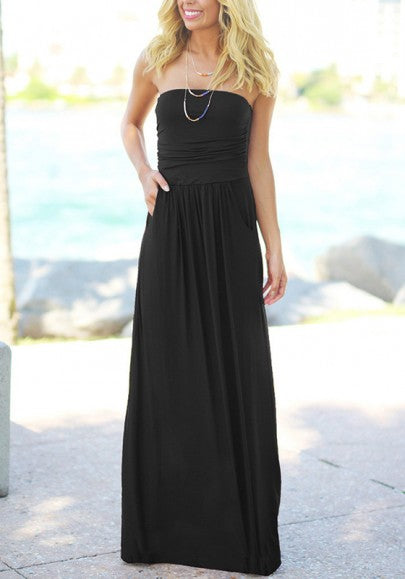 Black Pleated Bandeau Pockets Sleeveless Fashion Maxi Dress