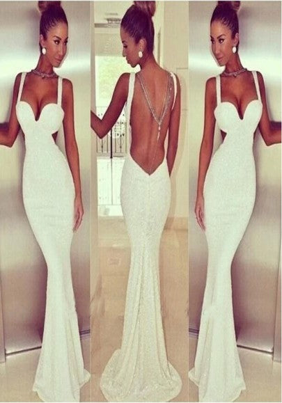 White Cut Out Chain Backless Mermaid Bridesmaid Deep V-neck Prom Evening Party Dresses