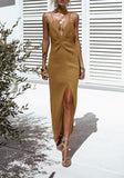 Yellow Spaghetti Strap Cut Out Backless Plunging Neckline Sleeveless Maxi Dress