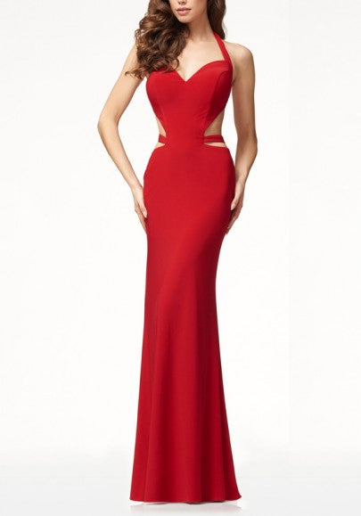 Red Heart Halter Neck Mermaid Elegant Banquet New Year Eve Party Maxi Dress