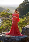 Red Draped Off Shoulder Mermaid Big Swing Bell Sleeve Maternity Maxi Dress