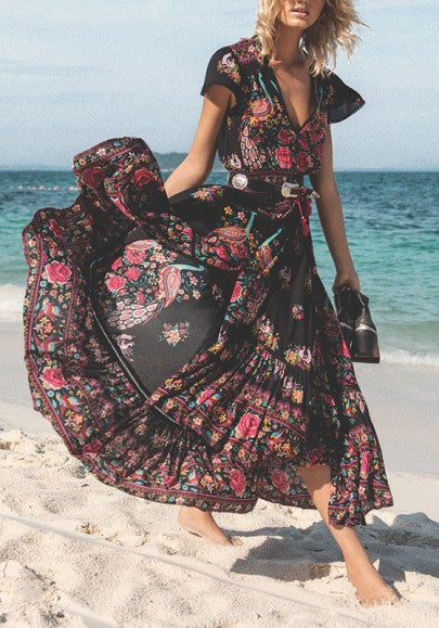 Black Floral Drawstring Slit Flowy Deep V-neck High Waisted Boho Mexican Maxi Dress