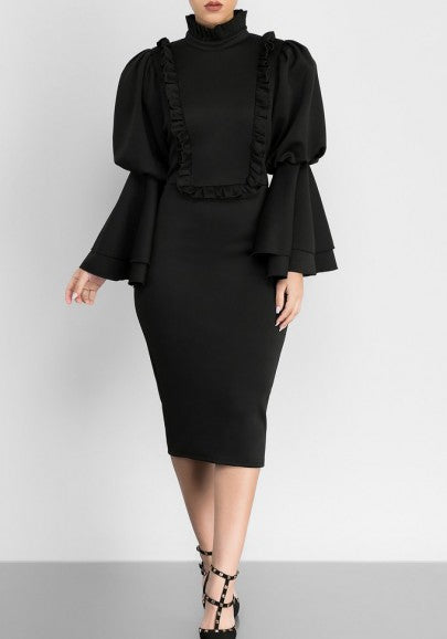 Black Ruffle Falbala Bell Sleeve Bodycon Banquet Elegant Party Pencil Midi Dress