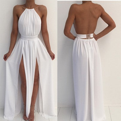 White Plain Draped Irregular Round Neck Sleeveless Maxi Dress