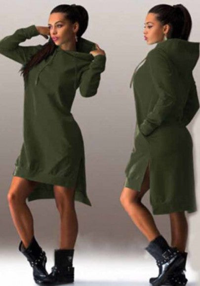 Army Green Plain Side Slit Pockets Hooded Jumper Midi Dress