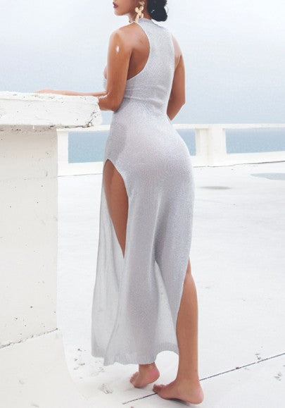 Grey Bright Wire Round Neck Sleeveless Side Slit Knit Sheer Maxi Dress