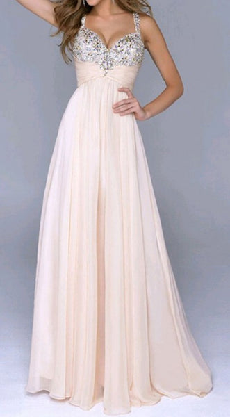 Pink Plain Sequin Zipper Back Sweetheart Party Chiffon Maxi Dress