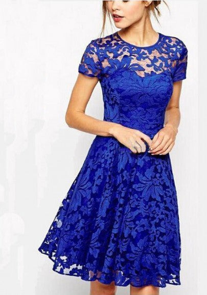 Blue Floral Lace Grenadine Pleated Plus Size Homecoming Party For Teens Midi Dress