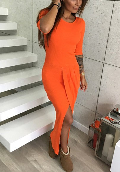 Orange Plain Irregular Round Neck Casual Maxi Dress