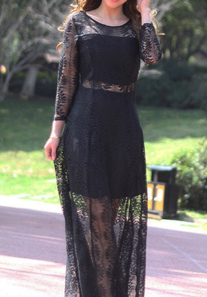 Black Lace Draped Bodycon Round Neck Elegant Party Maxi Dress