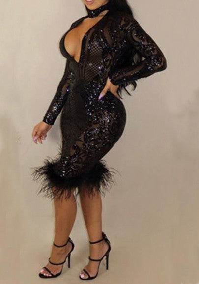 Black Patchwork Sequin Fluff Bodycon Long Sleeve Party Midi Dress