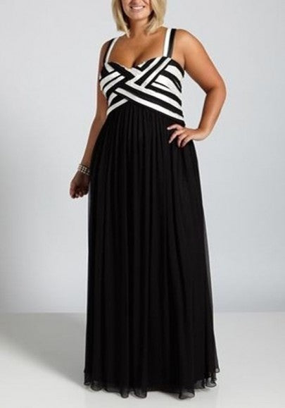 Black-White Patchwork Striped Zipper Plus Size Prom Evening Party Chiffon Maxi Dress