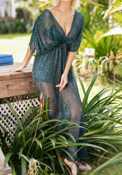 Peacock Blue Bright Wire Slit Sheer Plus Size Bikini Cover Up Maxi Dress