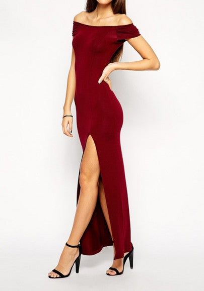 Backless Slit Side Boat Neck Fashion Maxi Dress