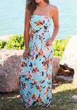 Light Blue Floral Bandeau Off Shoulder Draped Pockets Casual Maxi Dress