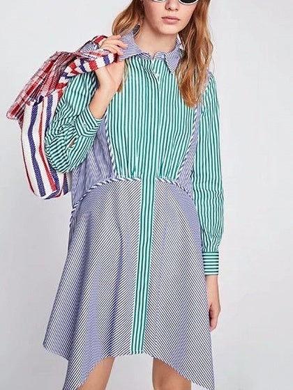 Blue Contrast Stripe Asymmetric Hem Long Sleeve Mini Shirt Dress