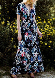 Navy Blue Floral Sashes V-neck Bohemian Maxi Dress