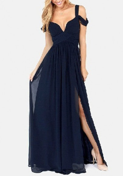 Navy Blue Plain Grenadine Irregular Sleeveless Maxi Dress