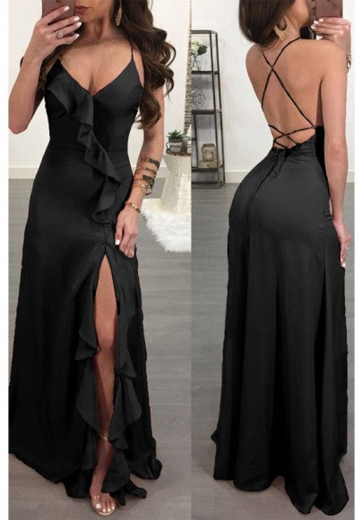 Black Spaghetti Strap Ruffle Side Slit Deep V-neck Flowy Las Vegas Maxi Dress