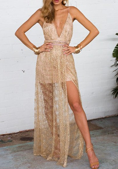 Golden Sequin Draped Slit Lace-up Backless Deep V-neck Party Maxi Dress