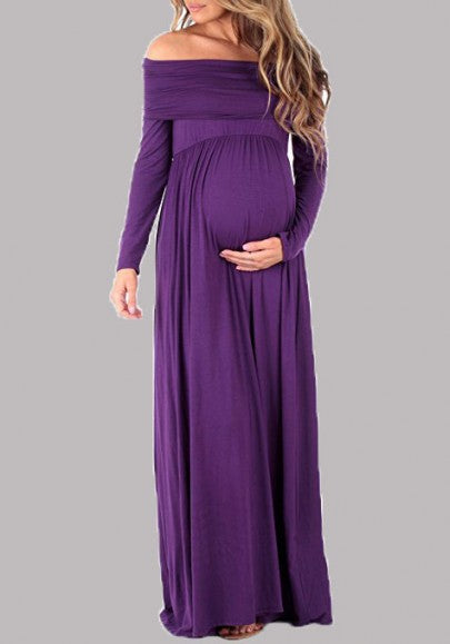 Purple Off Shoulder Backless Draped Maternity Short Sleeve Maxi Dress