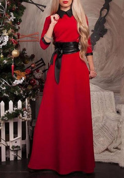 Red Plain Back Zipper Belt Christmas Party Peter Pan Collar Maxi Dress