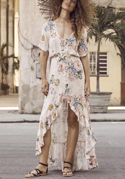 Beige Floral Drawstring Irregular Ruffle Single Breasted Fashion Maxi Dress