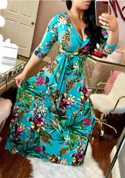 Sky Blue Floral Print Sashes Draped 3/4 Sleeve A-line Vintage Maxi Dress