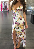 White Floral Spaghetti Strap Drawstring Sashes Ruffle Irregular Off Shoulder Backless Maxi Dress