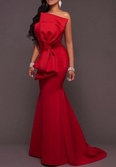 Red Bandeau Bowknot Draped Mermaid Off Shoulder Prom Evening Party Maxi Dress