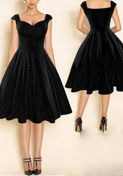 Black Plain Pleated Backless Tutu Audrey Hepburn 50S Elegant Midi Dress