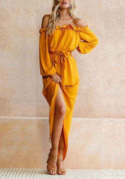 Yellow Irregular Sashes Ruffle Off Shoulder Backless Long Sleeve Party Midi Dress