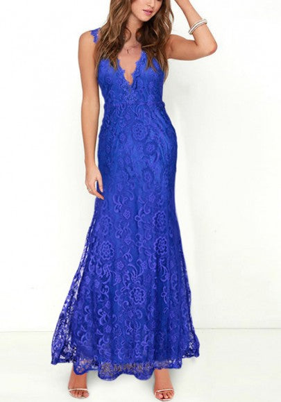 Blue Patchwork Hollow-out Lace Double-deck Plunging Neckline Maxi Dress